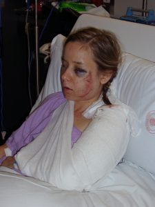 Erin in hospital soon after her car accident