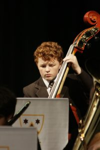 Lachie on Double Bass in Whitefriars College Junior Concert Band